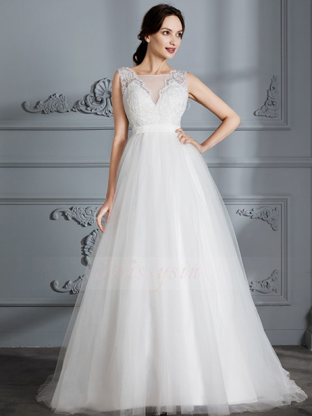 A-Line/Princess V-neck Sweep/Brush Train Sleeveless Tulle Wedding Dresses