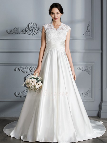 Ball Gown V-neck Court Train Sleeveless Satin Wedding Dresses