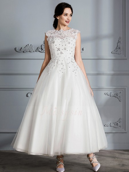 Ball Gown Scoop Tea-Length Sleeveless Tulle Wedding Dresses