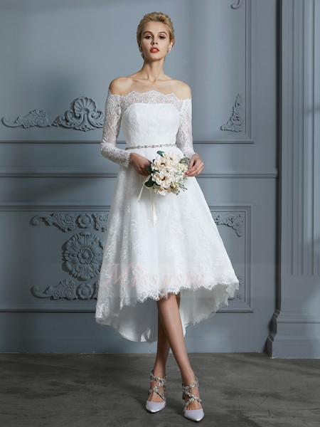 A-Line/Princess Off-the-Shoulder Asymmetrical Long Sleeves Lace Wedding Dresses