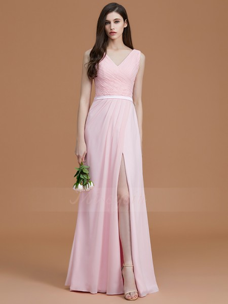 A-Line/Princess Sleeveless V-neck Chiffon Floor-Length Ruched Bridesmaid Dresses