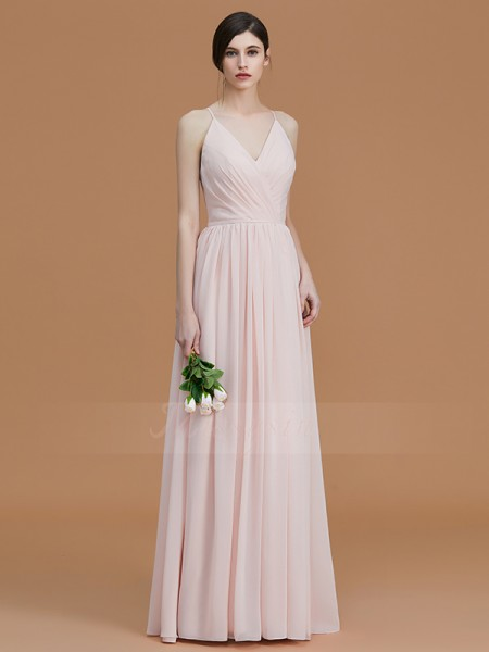 A-Line/Princess Sleeveless Spaghetti Straps Chiffon Floor-Length Ruched Bridesmaid Dresses