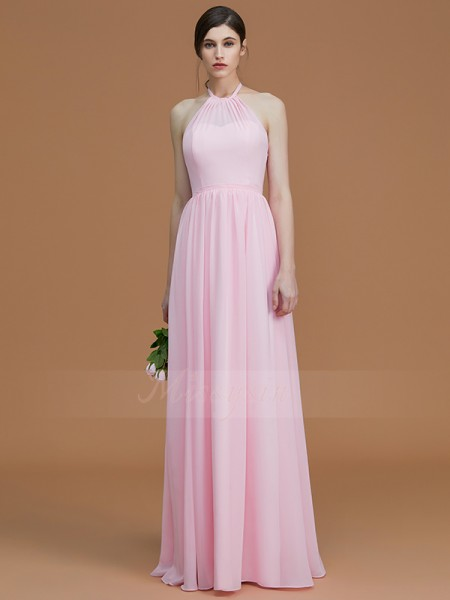 A-Line/Princess Sleeveless Halter Chiffon Floor-Length Ruched Bridesmaid Dresses