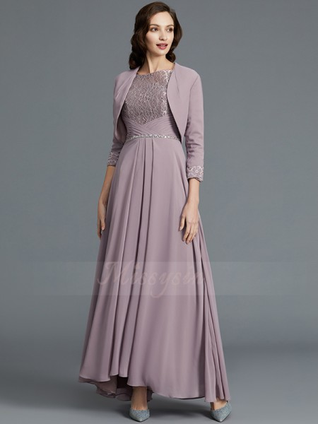 A-Line/Princess Scoop 1/2 Sleeves Chiffon Asymmetrical Mother of the Bride Dresses