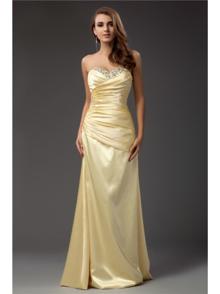 Sheath/Column Sweetheart Sleeveless Pleats,Beading Taffeta Floor-Length Dresses