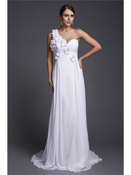 A-Line/Princess One-Shoulder Sleeveless Hand-Made Flower Chiffon Sweep/Brush Train Dresses