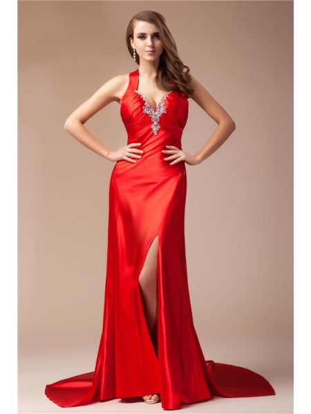 Sheath/Column V-neck Sleeveless Beading Elastic Woven Satin Sweep/Brush Train Dresses