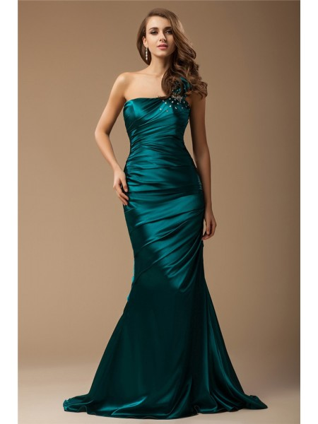 Trumpet/Mermaid One-Shoulder Sleeveless Ruffles,Beading Elastic Woven Satin Sweep/Brush Train Dresses