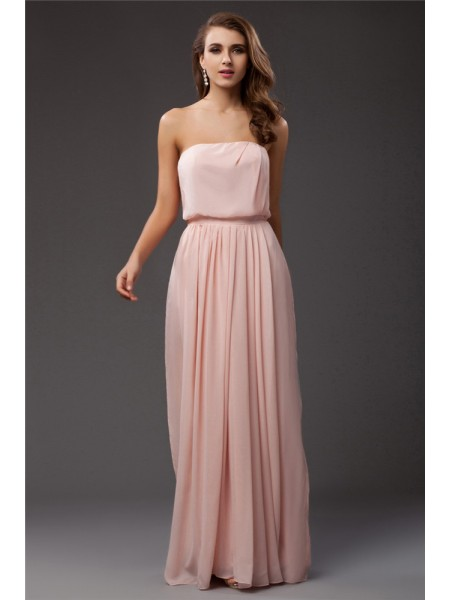 Sheath/Column Strapless Sleeveless Ruffles Chiffon Floor-Length Dresses