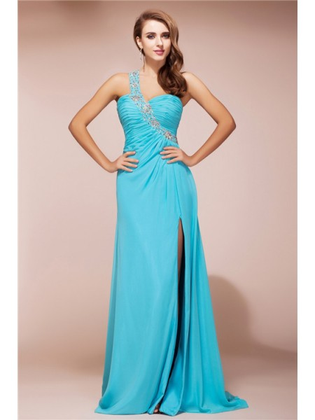 Sheath/Column One-Shoulder Sleeveless Beading Chiffon Sweep/Brush Train Dresses