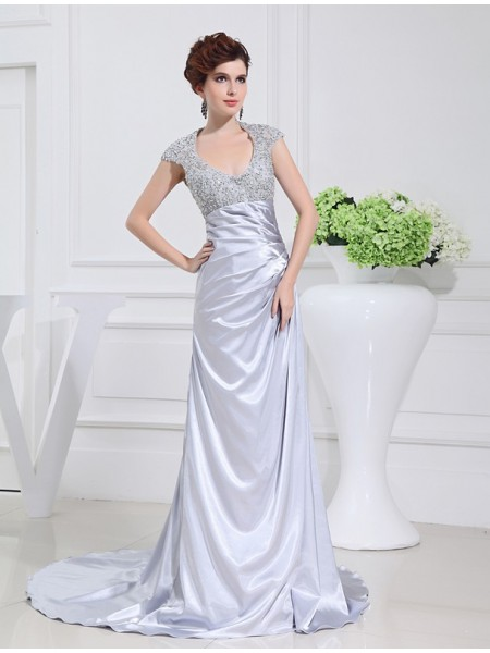 A-Line/Princess Scoop Sleeveless Beading Elastic Woven Satin Sweep/Brush Train Dresses