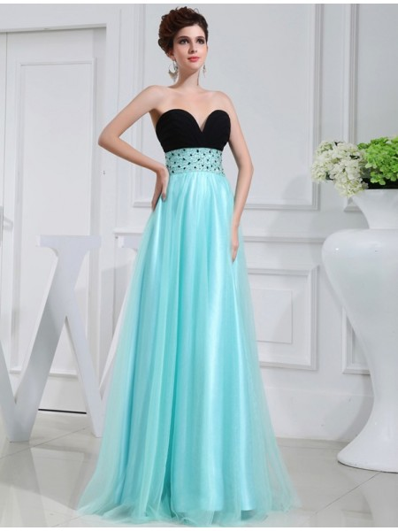 A-Line/Princess Sweetheart Sleeveless Beading Elastic Woven Satin Floor-Length Dresses