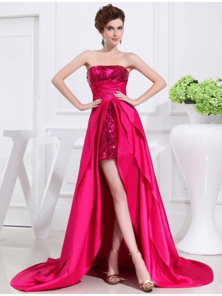 A-Line/Princess Strapless Sleeveless Applique Taffeta Asymmetrical Dresses