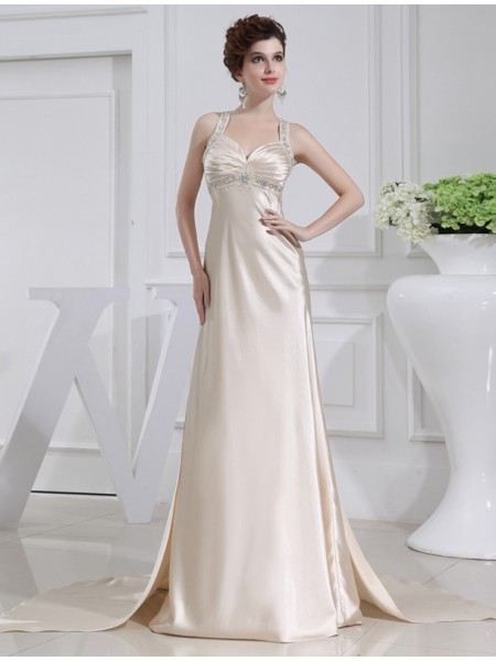 A-Line/Princess Straps Sleeveless Beading Elastic Woven Satin Sweep/Brush Train Dresses