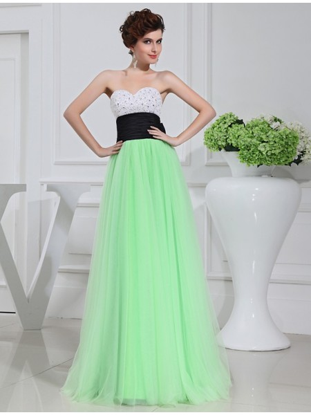 A-Line/Princess Sweetheart Sleeveless Beading,Bowknot Satin,Tulle Floor-Length Dresses