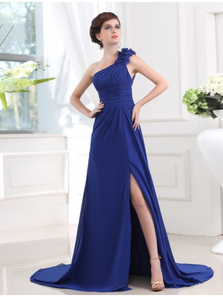 A-Line/Princess One-Shoulder Sleeveless Pleats,Hand-Made Flower Chiffon Sweep/Brush Train Dresses