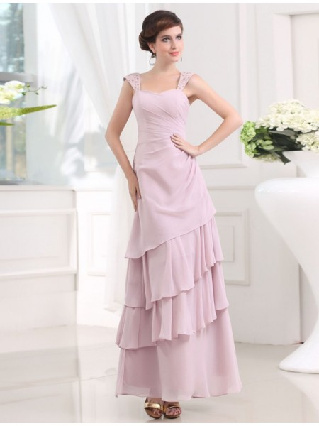 A-Line/Princess Straps Sleeveless Beading,Layers Chiffon Ankle-Length Dresses
