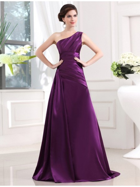A-Line/Princess One-Shoulder Sleeveless Pleats Elastic Woven Satin Sweep/Brush Train Dresses