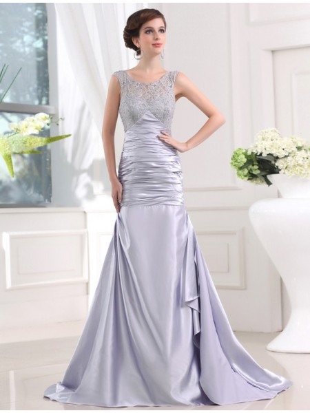 Trumpet/Mermaid Scoop Sleeveless Beading Elastic Woven Satin Sweep/Brush Train Dresses
