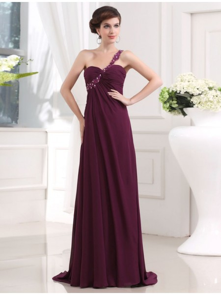 A-Line/Princess One-Shoulder Sleeveless Beading,Applique Chiffon Sweep/Brush Train Dresses