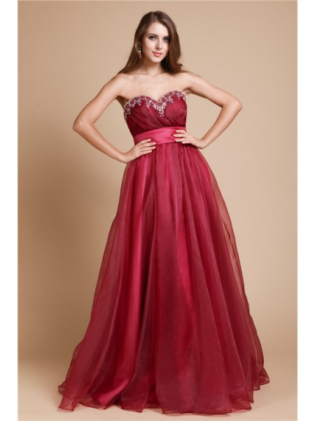 A-Line/Princess Sweetheart Sleeveless Beading Organza Floor-Length Dresses