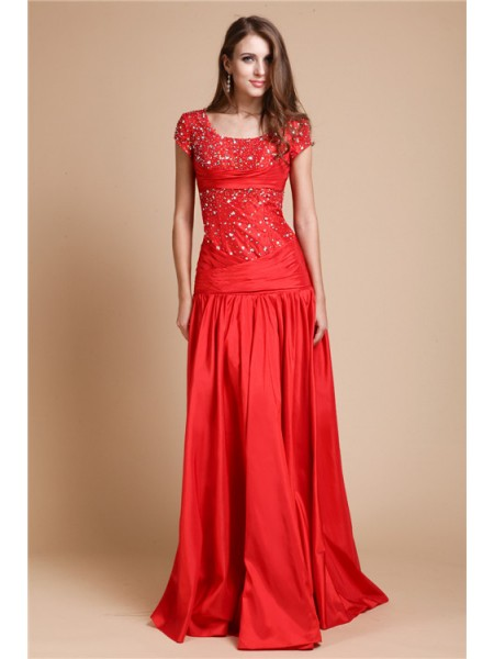A-Line/Princess Scoop Short Sleeves Beading Taffeta Floor-Length Evening Dresses