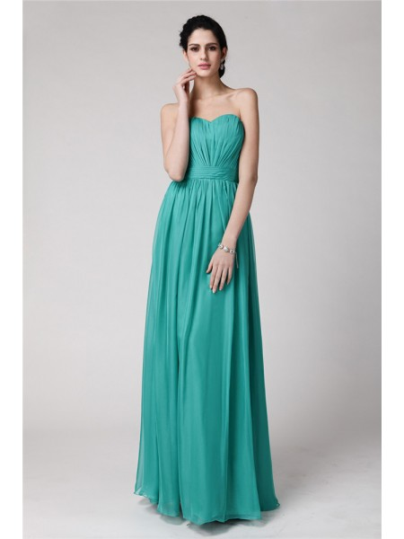 Sheath/Column Sweetheart Sleeveless Pleats Chiffon Floor-Length Bridesmaid Dresses