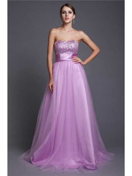 A-Line/Princess Strapless Sleeveless Beading Net Floor-Length Evening Dresses