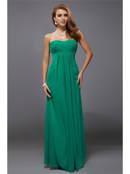 Sheath/Column Strapless Sleeveless Ruffles Chiffon Floor-Length Bridesmaid Dresses