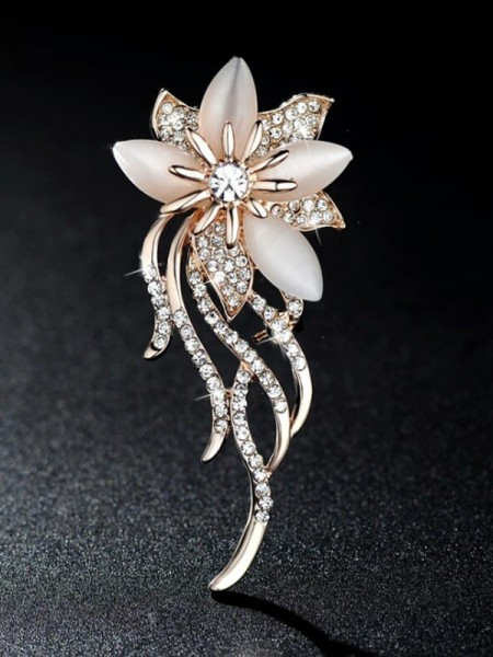 Womens Graceful Alloy With Rhinestone Brooch