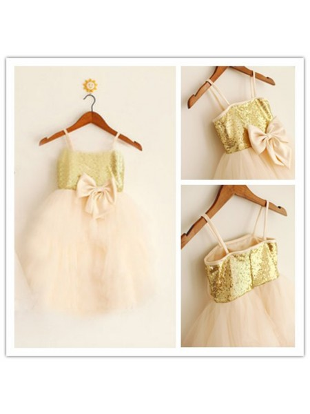A-Line/Princess Sleeveless Spaghetti Straps Tulle Tea-Length Sequin Flower Girl Dresses