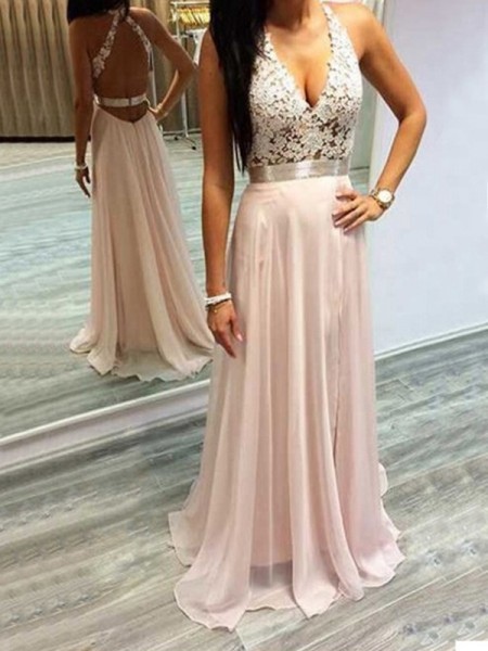 A-Line/Princess Sleeveless Halter Chiffon Sweep/Brush Train Dresses