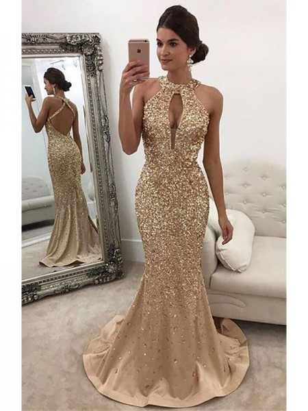 Trumpet/Mermaid Halter Satin Sleeveless Sequin Sweep/Brush Train Dresses