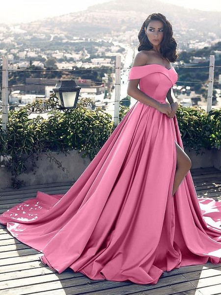 A-Line/Princess Off-the-Shoulder Satin Sleeveless Ruffles Court Train Dresses