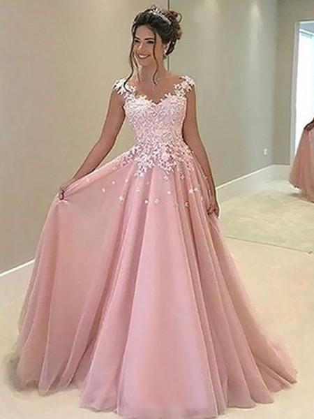 A-Line/Princess Sweetheart Tulle Sleeveless Applique Floor-Length Dresses
