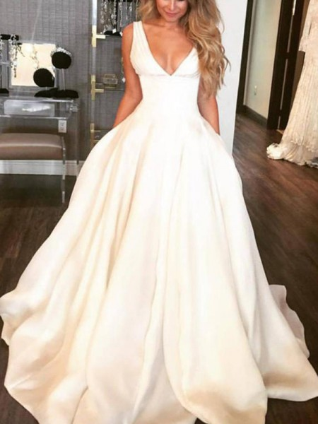 A-Line/Princess V-neck Sleeveless Sweep/Brush Train Satin Ruffles Wedding Dresses