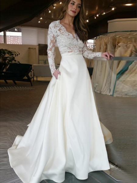 A-Line/Princess V-neck Long Sleeves Sweep/Brush Train Satin Applique Wedding Dresses