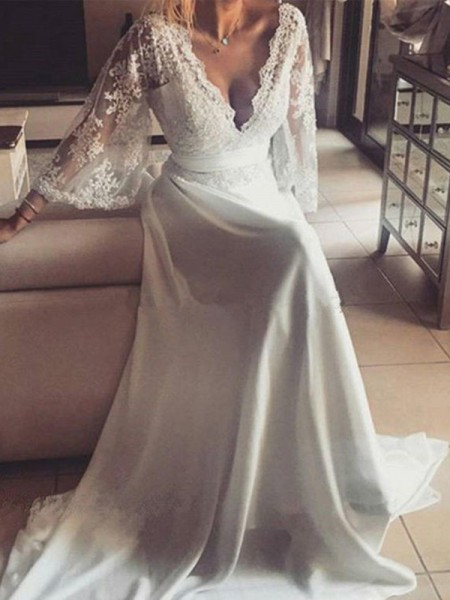 A-Line/Princess V-neck Long Sleeves Court Train Lace Sash/Ribbon/Belt Wedding Dresses