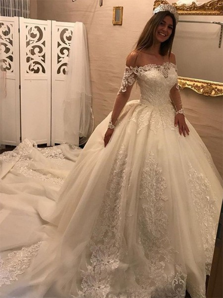 Ball Gown Off-the-Shoulder Long Sleeves Cathedral Train Tulle Applique Wedding Dresses