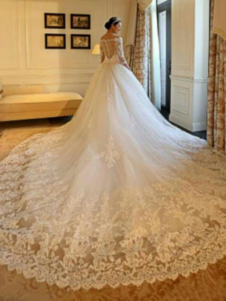 Ball Gown Off-the-Shoulder 3/4 Sleeves Cathedral Train Tulle Beading Wedding Dresses