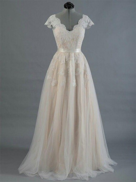 A-Line/Princess V-neck Sleeveless Floor-Length Lace Applique Wedding Dresses