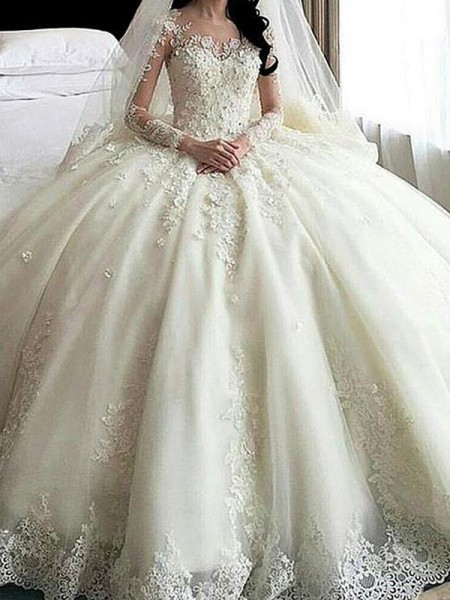 Ball Gown Scoop Long Sleeves Cathedral Train Tulle Applique Wedding Dresses