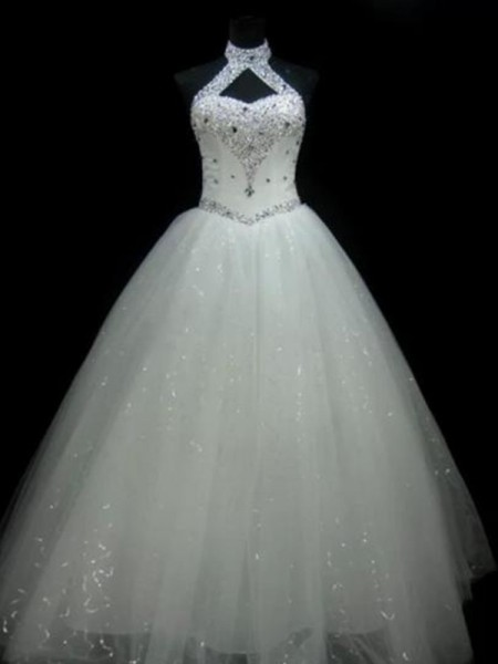 Ball Gown Halter Sleeveless Floor-Length Tulle Beading Wedding Dresses