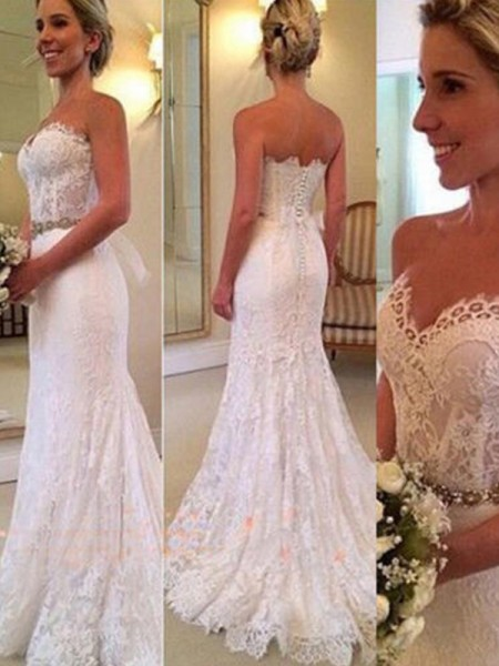 Trumpet/Mermaid Sweetheart Sleeveless Sweep/Brush Train Lace Applique Wedding Dresses