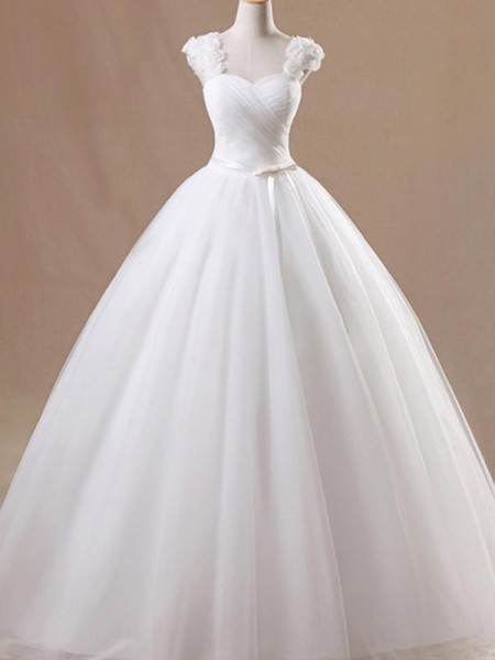 Ball Gown Square Sleeveless Floor-Length Tulle Ruffles Wedding Dresses