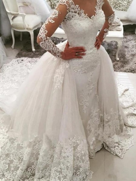 Ball Gown V-neck Long Sleeves Cathedral Train Tulle Applique Wedding Dresses