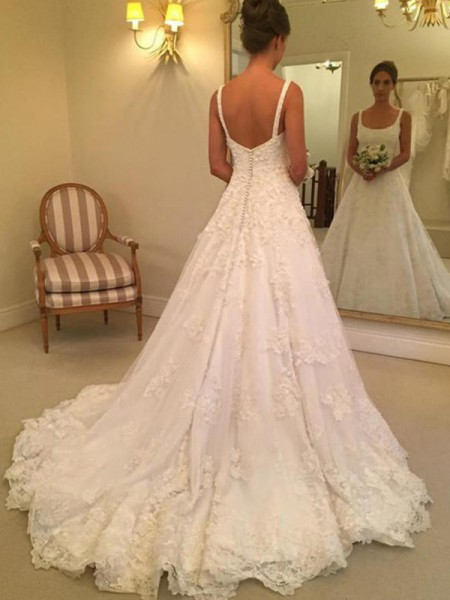 A-Line/Princess Square Sleeveless Court Train Lace Applique Wedding Dresses