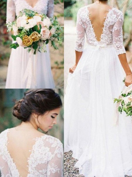 A-Line/Princess V-neck 1/2 Sleeves Floor-Length Chiffon Applique Wedding Dresses