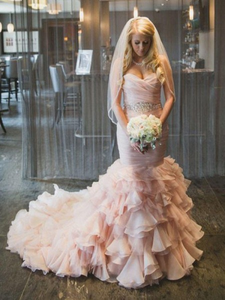 Trumpet/Mermaid Sweetheart Sleeveless Court Train Organza Ruffles Wedding Dresses