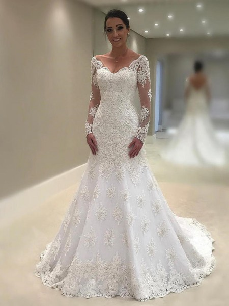 Trumpet-Mermaid V-neck Long Sleeves Court Train Lace Applique Wedding Dresses